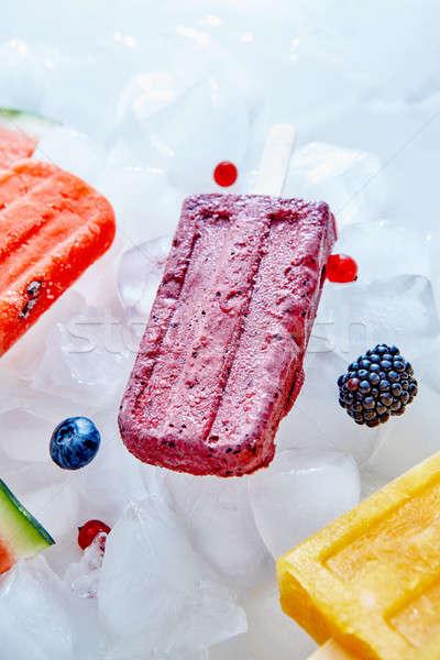 Foto stock: Congelado · diferente · frutas · palo · bayas