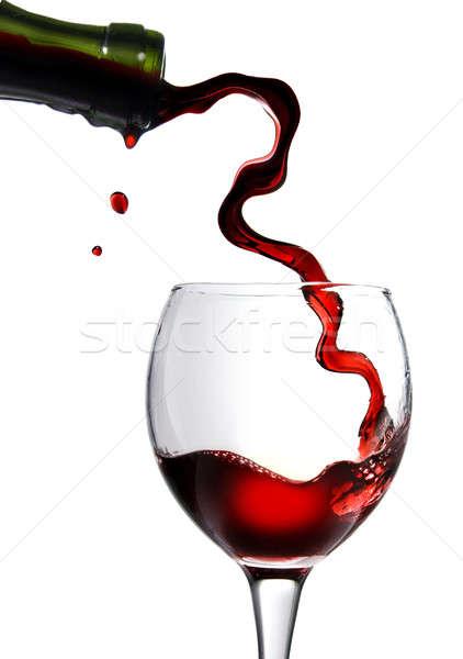 Foto stock: Vinho · tinto · vidro · isolado · branco · vinho
