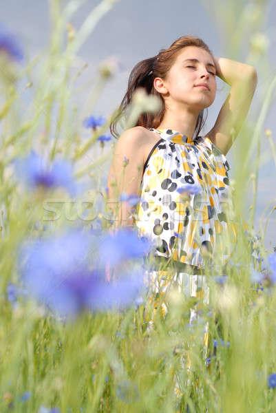 Lány pózol mező virágok virág nők Stock fotó © artjazz