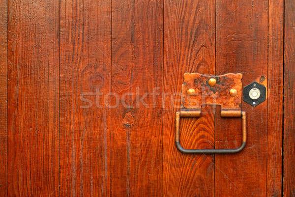 Behandelen houten deur ontwerp home achtergrond Stockfoto © artjazz