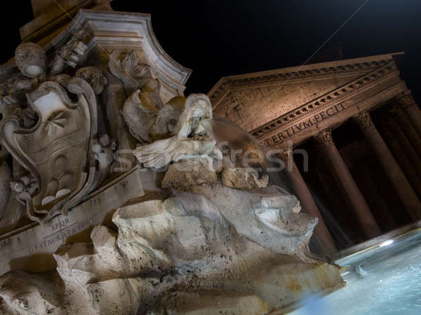 Stock photo: Fountain of Piazza Rotonda at night outside Pantheon in Rome, It
