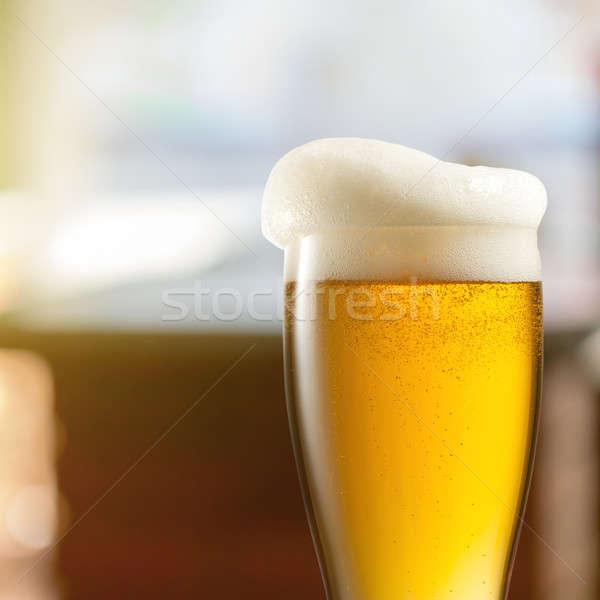 üveg világos sör kocsma asztal bár ital Stock fotó © artjazz
