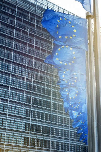 ヨーロッパの 組合 フラグ 建物 ブリュッセル ベルギー ストックフォト © artjazz