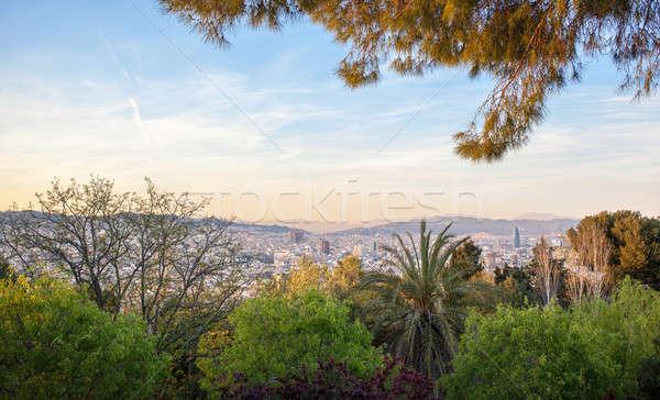 Panorama Barcelona panorâmico ver pôr do sol hills Foto stock © artjazz