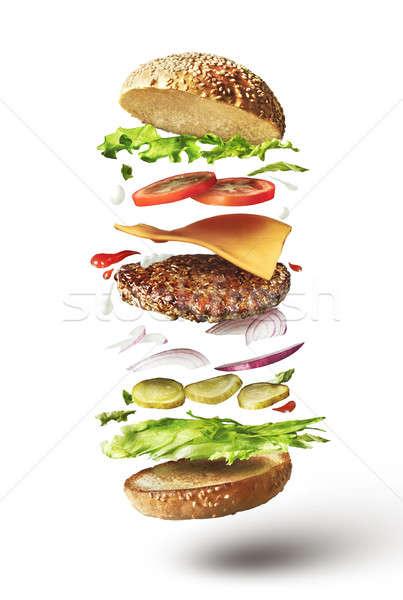 Stockfoto: Heerlijk · hamburger · vliegen · ingrediënten · witte · voedsel