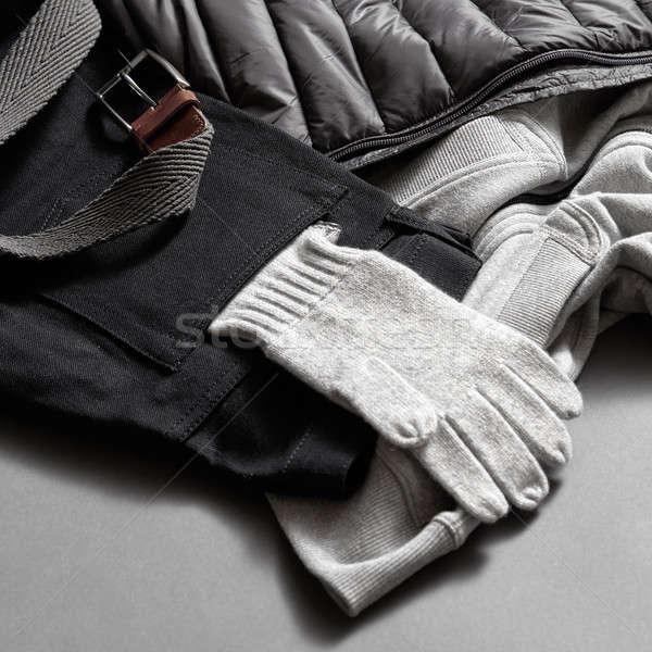 gray warm gloves winter clothes Stock photo © artjazz