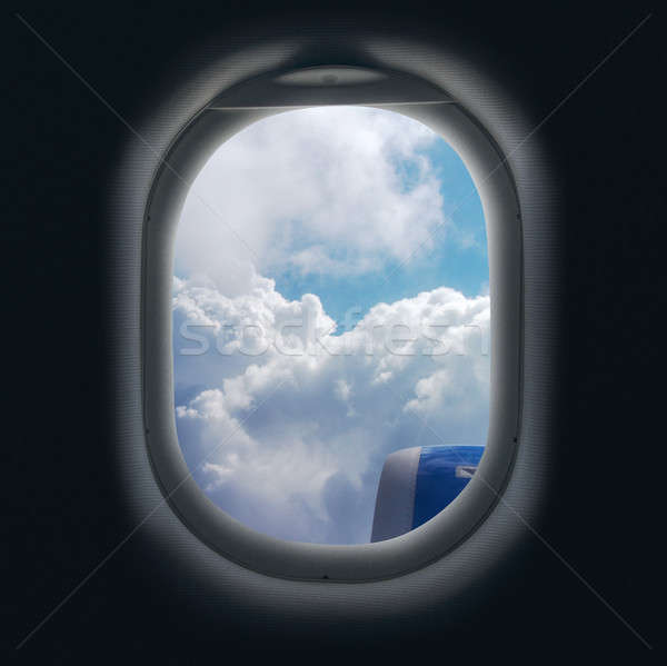 View of cloud and turbine of airplane from window Stock photo © artjazz