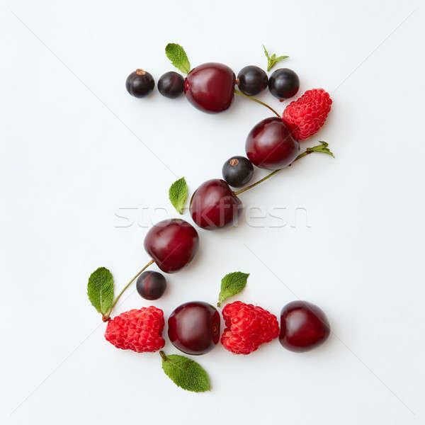 Orbanic fruits pattern of letter Z english alphabet from natural ripe berries - black currant, cherr Stock photo © artjazz