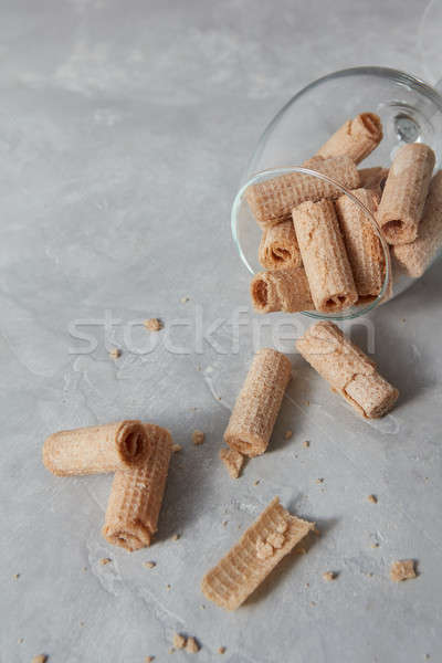 Croccante dessert cialda mentire vetro Foto d'archivio © artjazz