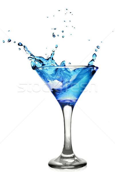 Bleu cocktail Splash isolé blanche alimentaire Photo stock © artjazz