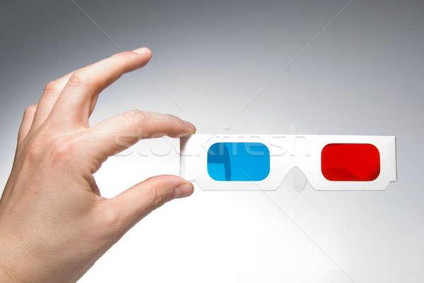 手 ステレオ 眼鏡 紙 背景 ストックフォト © artjazz