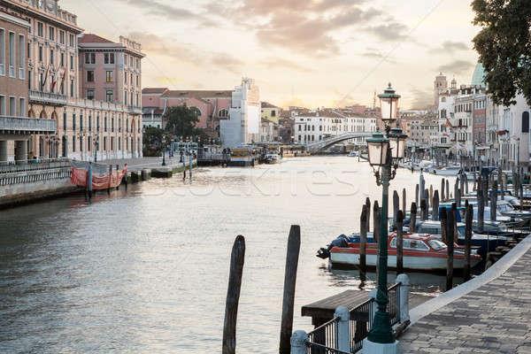 Beroemd kanaal zonsondergang Venetië Italië gebouw Stockfoto © artjazz