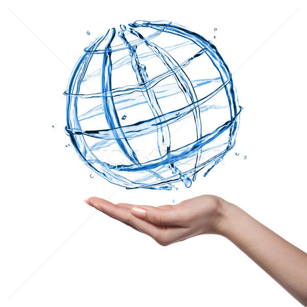 Globe from water with human hand isolated on white Stock photo © artjazz
