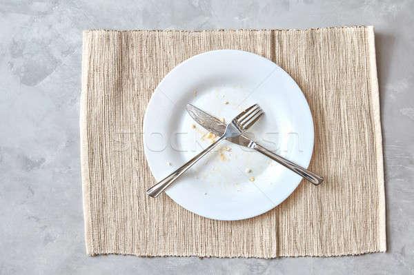 металл вилка ножом каменные таблице Сток-фото © artjazz