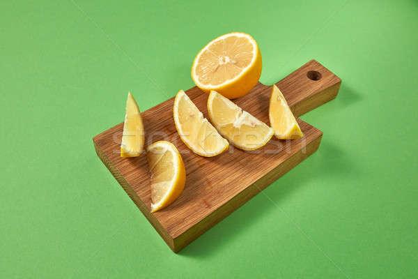 Fél szeletek természetes organikus citromsárga citrom Stock fotó © artjazz