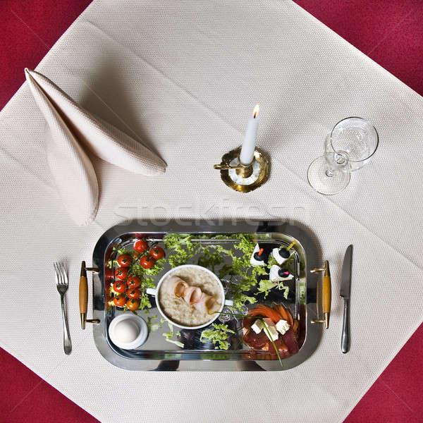 Angol reggeli asztal étel háttér gyertya Stock fotó © artjazz