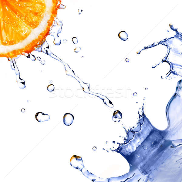 Frischwasser splash Tropfen orange isoliert weiß Stock foto © artjazz