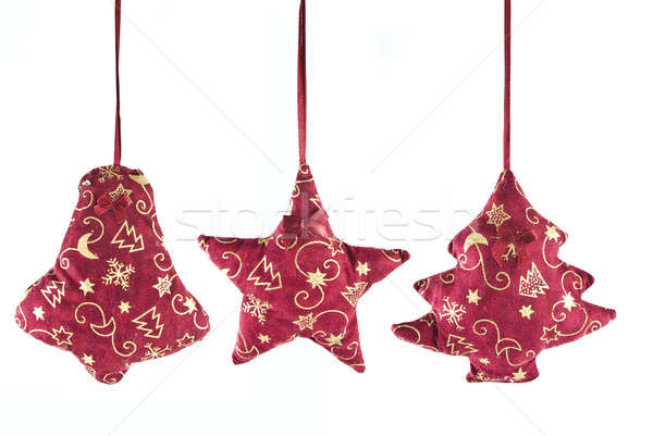 christmas decorations - bell, star and  fir-tree Stock photo © artjazz