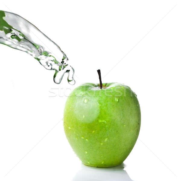 édesvíz csobbanás zöld alma izolált fehér Stock fotó © artjazz