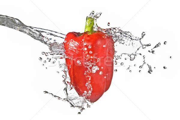 Stockfoto: Zoetwater · splash · Rood · zoete · peper · geïsoleerd