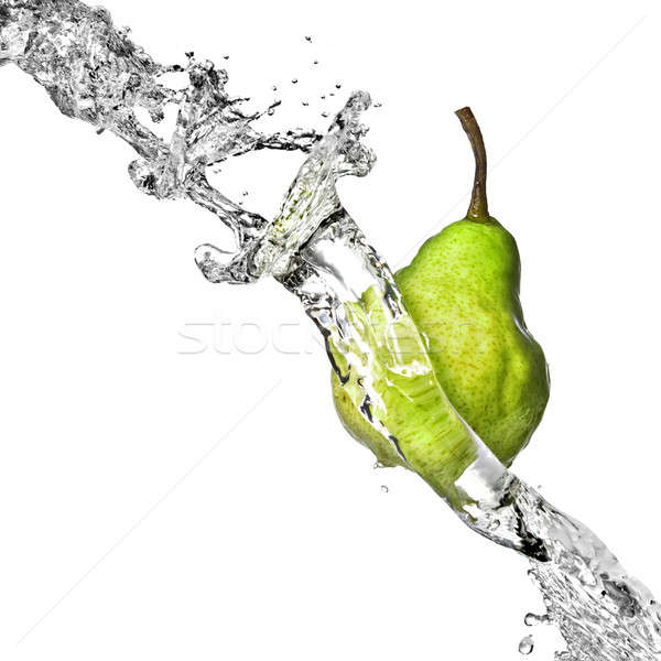 édesvíz csobbanás zöld körte izolált fehér Stock fotó © artjazz
