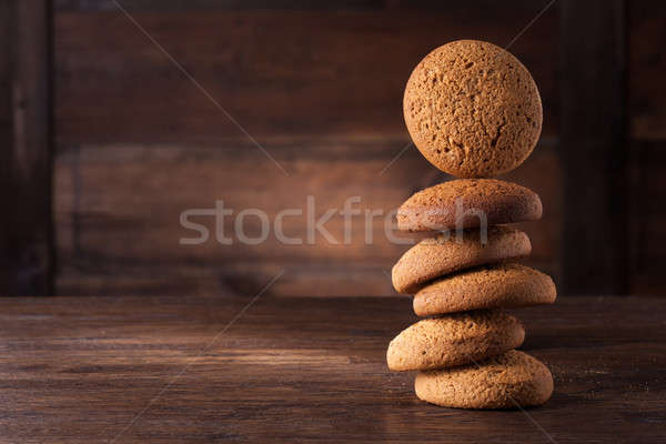 oat cookies on wooden table Stock photo © artjazz