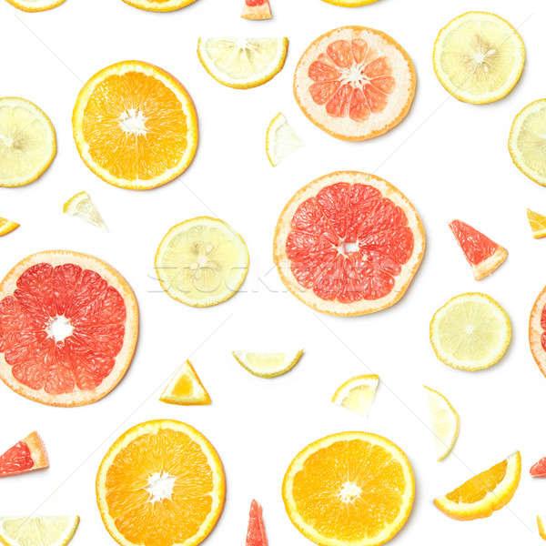 Citrus geïsoleerd naadloos voedsel patroon Stockfoto © artjazz