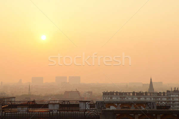 Sunset on the skyline of Brussels Stock photo © artjazz