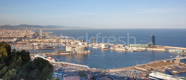 Panoramic view of Barcelona and port Stock photo © artjazz