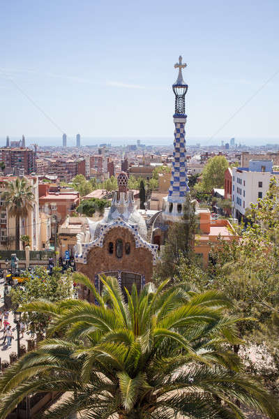Park Guell by architect Gaudi in a summer day, Barcelona, Spain. Stock photo © artjazz