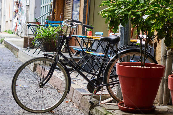 bike parked on the street Stock photo © artjazz