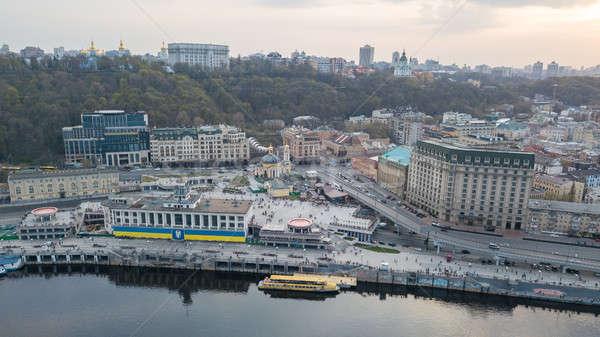 Aerial view of River Port, Podil and Postal Square in Kiev, the capital of Ukraine Stock photo © artjazz