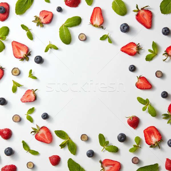 Quadro fruto padrão morangos mirtilos de Foto stock © artjazz
