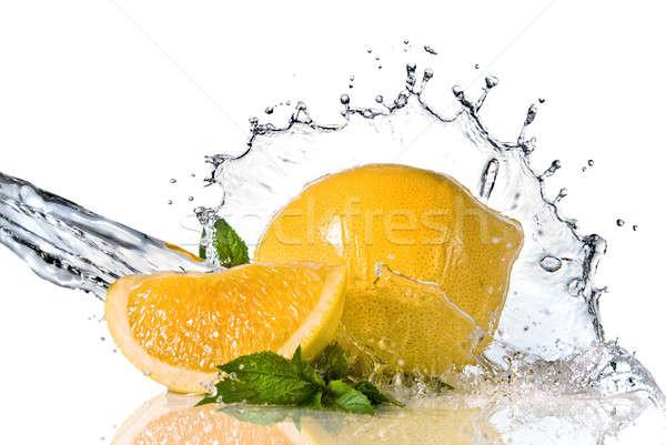 Limon nane yalıtılmış sıçrama Stok fotoğraf © artjazz