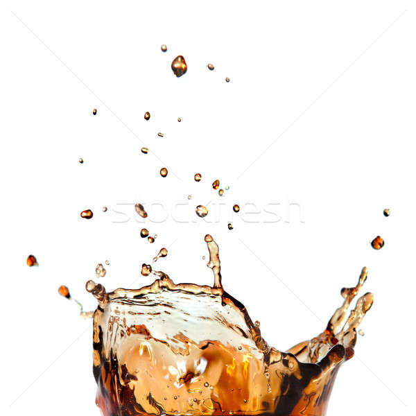 splash of cola in glass isolated on white Stock photo © artjazz