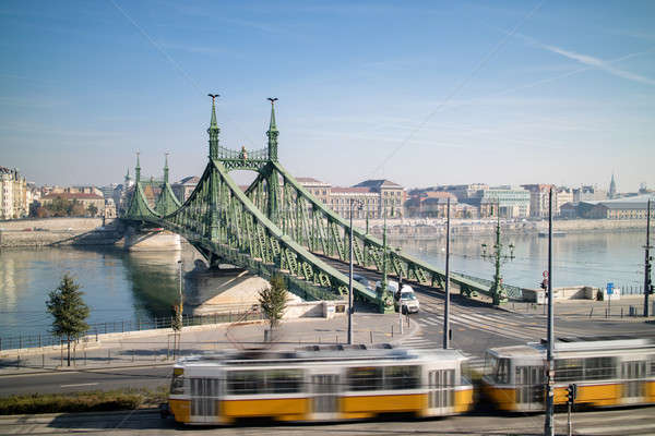 Liberty Bridge of Budapest with tram in the foreground Stock photo © artjazz