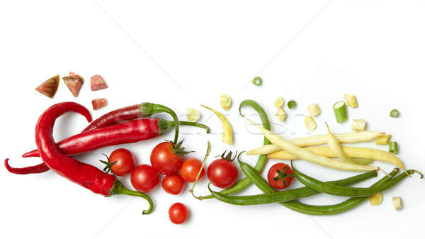 pepper, beans with cherry tomatoes Stock photo © artjazz