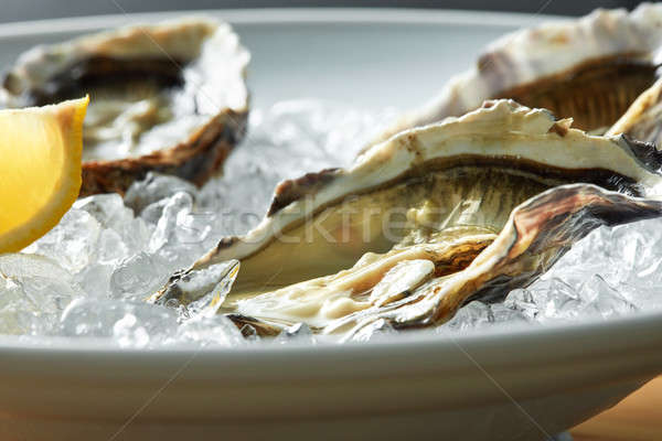 Oysters with lemon on plate Stock photo © artjazz
