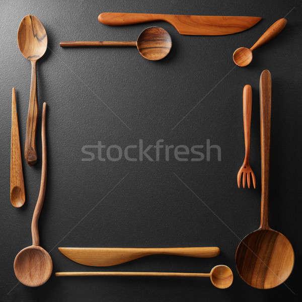 frame of wooden kitchen utensil Stock photo © artjazz