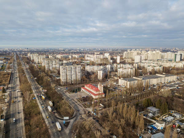 A bird's eye view, aerial panoramic view from drone to the Darnyts'kyi district of Kiev, Ukraine at  Stock photo © artjazz