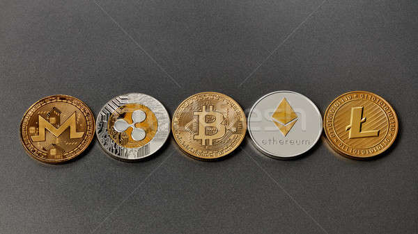 Five different coins of crypto-currencies presented in a row on a dark background. Virtual money con Stock photo © artjazz