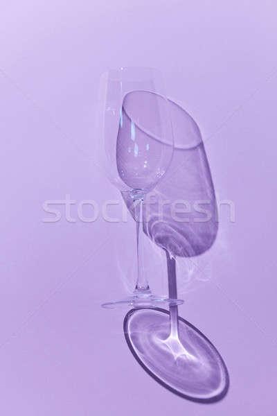 Wine Glass with shadow on purple background Stock photo © artjazz