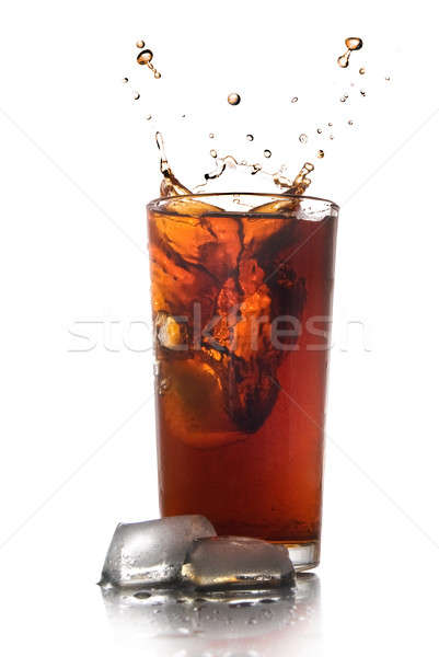 Photo stock: Belle · Splash · Cola · verre · isolé · blanche