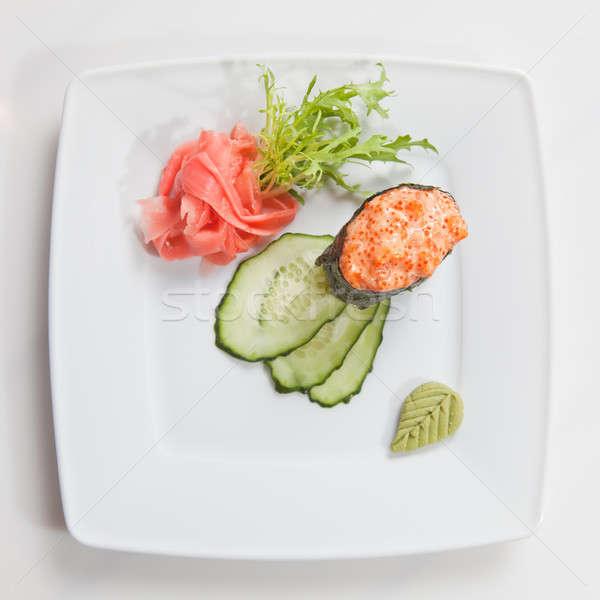 Sushi plaka yalıtılmış beyaz gıda balık Stok fotoğraf © artjazz