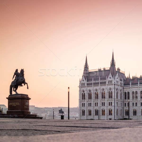Húngaro parlamento edifício Budapeste ver vazio Foto stock © artjazz