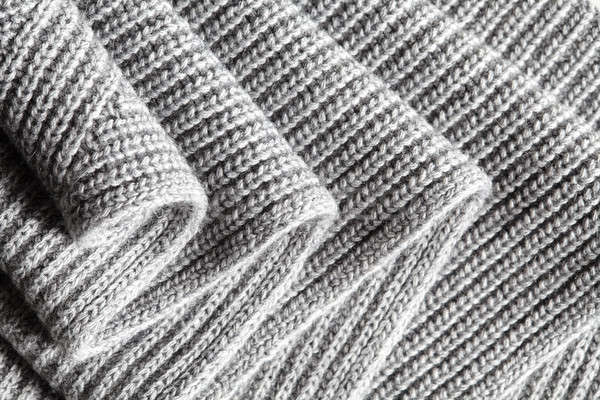 Dark gray ruched knitted wool fabric cool weather background Stock photo © artjazz
