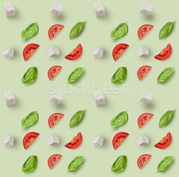 Mozzarella tomates cherry frescos albahaca ingredientes Foto stock © artjazz