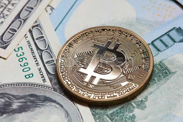 Gouden munt bitcoin geld achtergrond metaal Stockfoto © artjazz