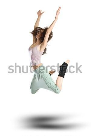 Atlama genç dansçı yalıtılmış beyaz kadın Stok fotoğraf © artjazz