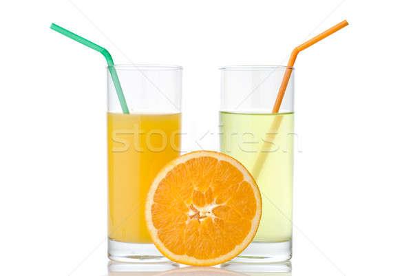 Stockfoto: Kalk · sinaasappelsap · oranje · geïsoleerd · witte · voedsel